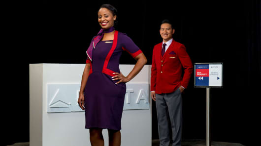 Zac Posen designed some versions of Delta's new uniform to include a touch of red.
