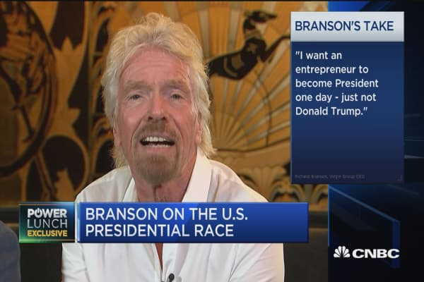 Branson: Trump not the right person to lead US