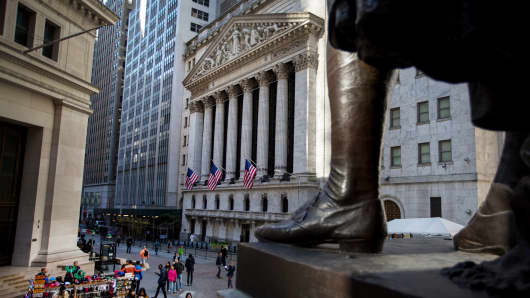 American flags fly outside The New York Stock Exchange in New York.