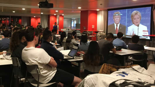 Students at Northeastern University gather to watch the final presidential debate,