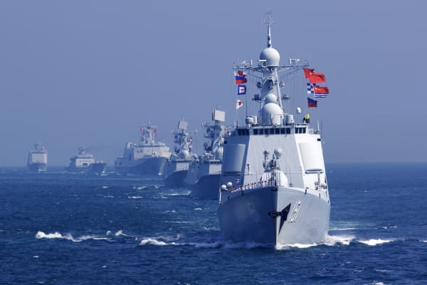 A China-Russia naval joint drill off south China's Guangdong Province, Sept. 19, 2016.