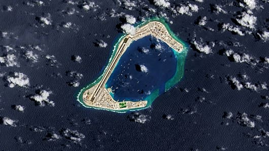 A satellite image of Subi Reef, an artificial island being developed by China in the Spratly Islands in the South China Sea, on September 4, 2016.