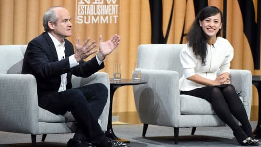 President of Alibaba Group, Michael Evans, (L) and president of Didi Chuxing, Jean Liu, speak onstage during 'The Truth About China' at the Vanity Fair New Establishment Summit at Yerba Buena Center for the Arts on October 20, 2016 in San Francisco, California.