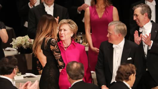 Hillary Clinton speaks with Melania Trump at the Alfred E. Smith Memorial Foundation Dinner. The white-tie dinner, which benefits Catholic charities and celebrates former Governor of New York Al Smith, has been attended by presidential candidates since 1960.