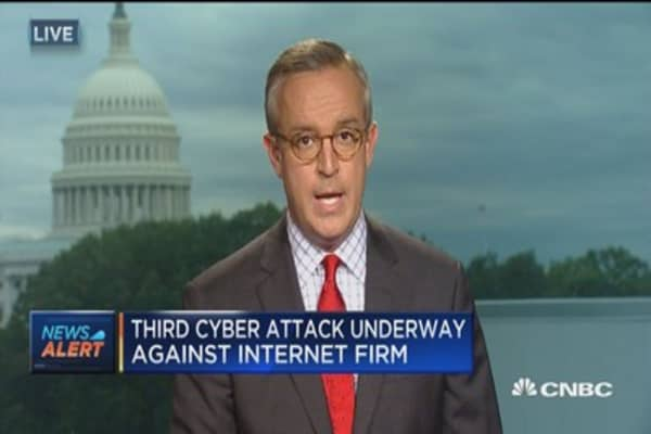 Third cyber attack underway against internet firm