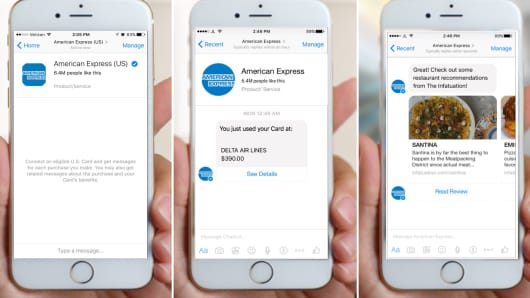 American Express bot for Facebook Messenger