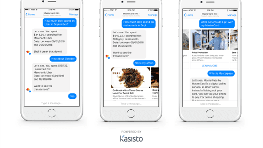 Mastercard builds chatbots for banks and merchants; teams with Fit Pay