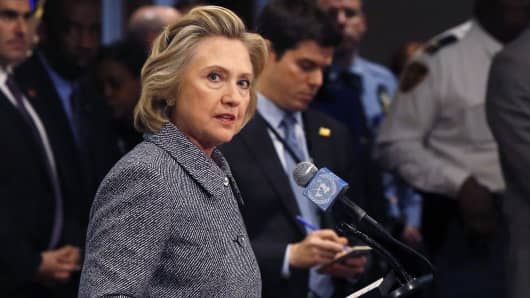 Former U.S. Secretary of State Hillary Clinton speaks during a news conference at the United Nations in New York, March 10, 2015. Clinton said on Tuesday she did not email any classified material to anyone while at the State Department.