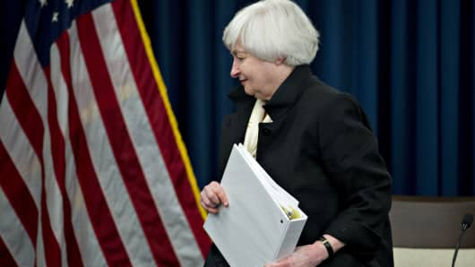 Janet Yellen, chair of the U.S. Federal Reserve, exits after a news conference following a Federal Open Market Committee (FOMC) meeting in Washington, D.C., U.S., on Wednesday, June 15, 2016.