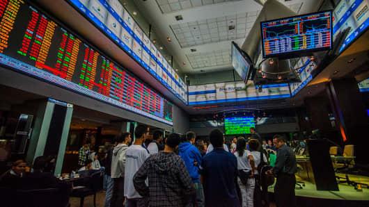 The BM&F Bovespa Stock Exchange in São Paulo, Brazil