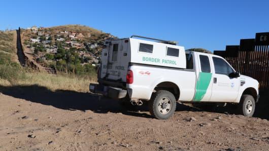 Border patrol along the U.S./Mexico border in Nogales, Arizona.
