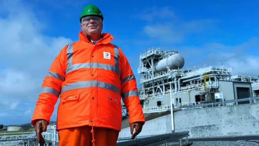 Patrick Pouyanne, Chairman and CEO of French energy company Total visits the Shetland Gas Plant on May 16, 2016, in the Shetland Islands.