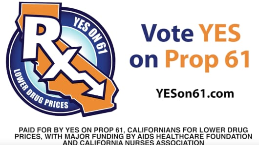Prop 61 advertisement for lower drug prices.