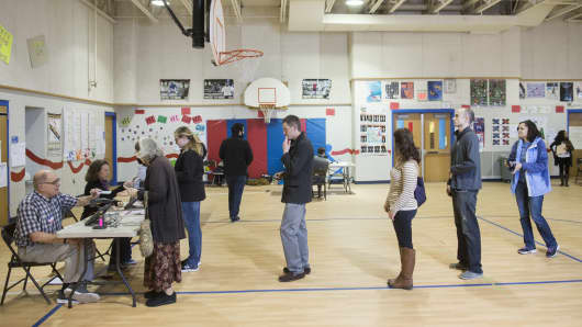 Voters on line in a school gym