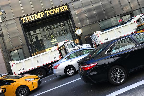 Traffic passes Trump Tower on 5th Avenue in New York on Nov. 8th, 2016.