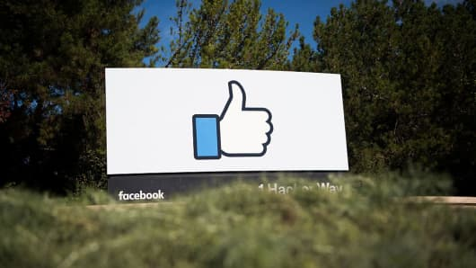 The Facebook sign and logo is seen in Menlo Park, California on November 4, 2016.