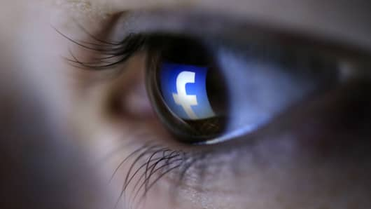 Facebook reflection in an eye