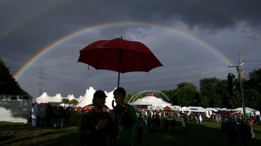 Rainbow, surprise, positive, raining