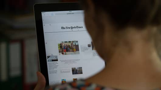 New York Times on a tablet