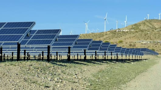 Solar Farm and wind turbines in Palm Springs CA.