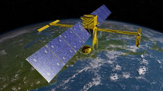 A rendering of the Surface Water and Ocean Topography (SWOT) Satellite.