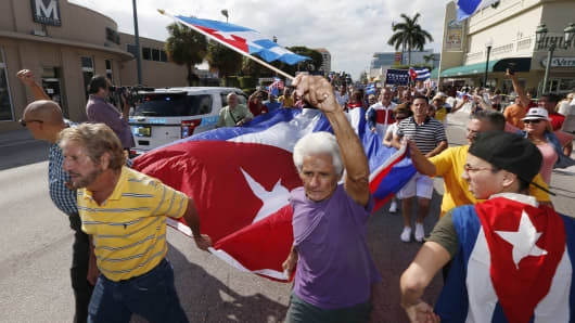 Cuban-Americans on the streets of Miami's Little Havana celebrate the death of Fidel Castro,  Nov. 27, 2016.