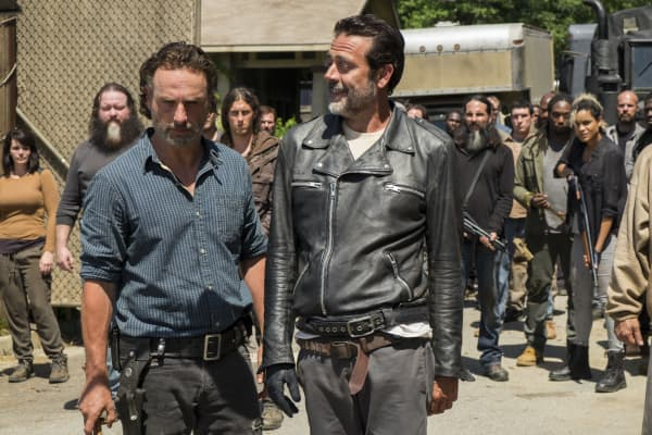 Andrew Lincoln as Rick Grimes and Jeffrey Dean Morgan as Negan featured in The Walking Dead on AMC