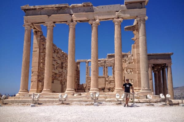 Scott Keyes in Athens, Greece, on a round-the-world trip he took with his fiancee last spring. They flew 20,000 miles to 13 countries for 136,500 frequent flyer miles and $20 per flight in taxes and fees.