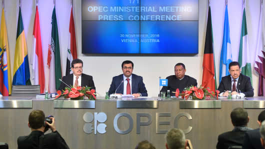 From left to right, Mohamed Hamel, chairman of OPEC, Mohammed Al-Sada, Qatar's minister of energy and industry and president of OPEC, Mohammed Barkindo, secretary general of OPEC, and Hasan Hafidh, head of public relations of OPEC, attend a news conference following the 171st Organization of Petroleum Exporting Countries (OPEC) meeting in Vienna, Austria, on Wednesday, Nov. 30, 2016.