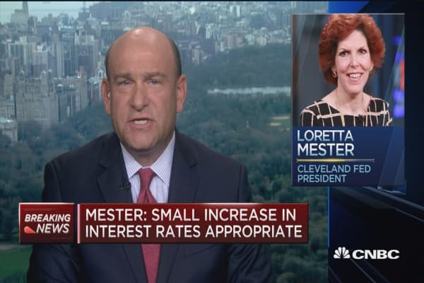 Fed's Mester: Small increase in interest rates appropriate