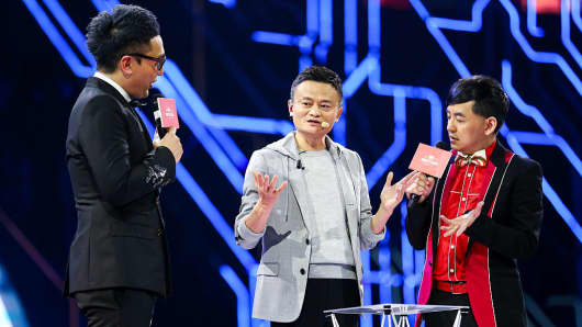 Jack Ma, chairman of Alibaba Group, during the Tmall 11:11 Global Shopping Festival gala. Alibaba live-streamed an 8 hour fashion show on Singles' Day to better engage customers.