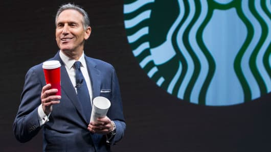 Starbucks CEO Howard Schultz speaks during the Starbucks Annual Shareholders Meeting on March 23, 2016 in Seattle, Washington.