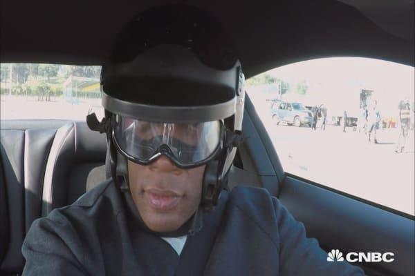 Jay Leno drives