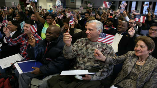 While the nation continues to focus on illegal immigration as a controversial political issue, every Friday in New York City alone, approximately 500 citizens from around the world officially become Americans after taking an oath at a brief ceremony run by the Department of Homeland Security.
