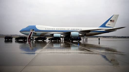 Air Force One sits on the tarmac at Joint Base Andrews outside Washington, D.C., U.S., on Tuesday, Dec. 6, 2016.