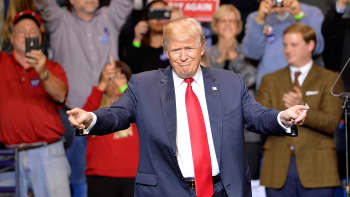 President-elect Donald Trump points to his supporters during his 'Thank You' rally at Crown Coliseum on December 6, 2016 in Fayetteville, North Carolina.