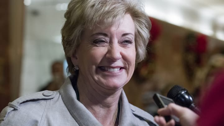 Linda McMahon, former chief executive officer of World Wrestling Entertainment Inc., smiles while speaking to the media in the lobby of Trump Tower in New York, on Wednesday, Nov. 30, 2016.
