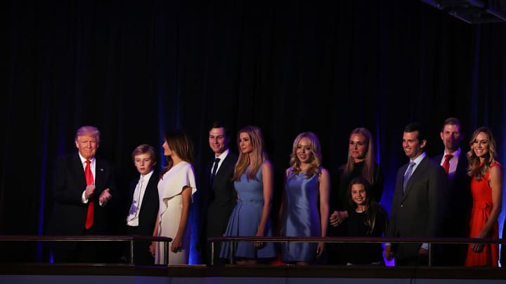 Republican president-elect Donald Trump acknowledges the crowd along with (L-R) his son Barron Trump, wife Melania Trump, Jared Kushner, Ivanka Trump, Tiffany Trump, Vanessa Trump, Donald Trump Jr., Eric Trump and Lara Yunaska during his election night event.