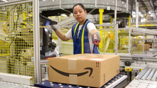 A worker at an Amazon shipping center in Schertz, Texas.