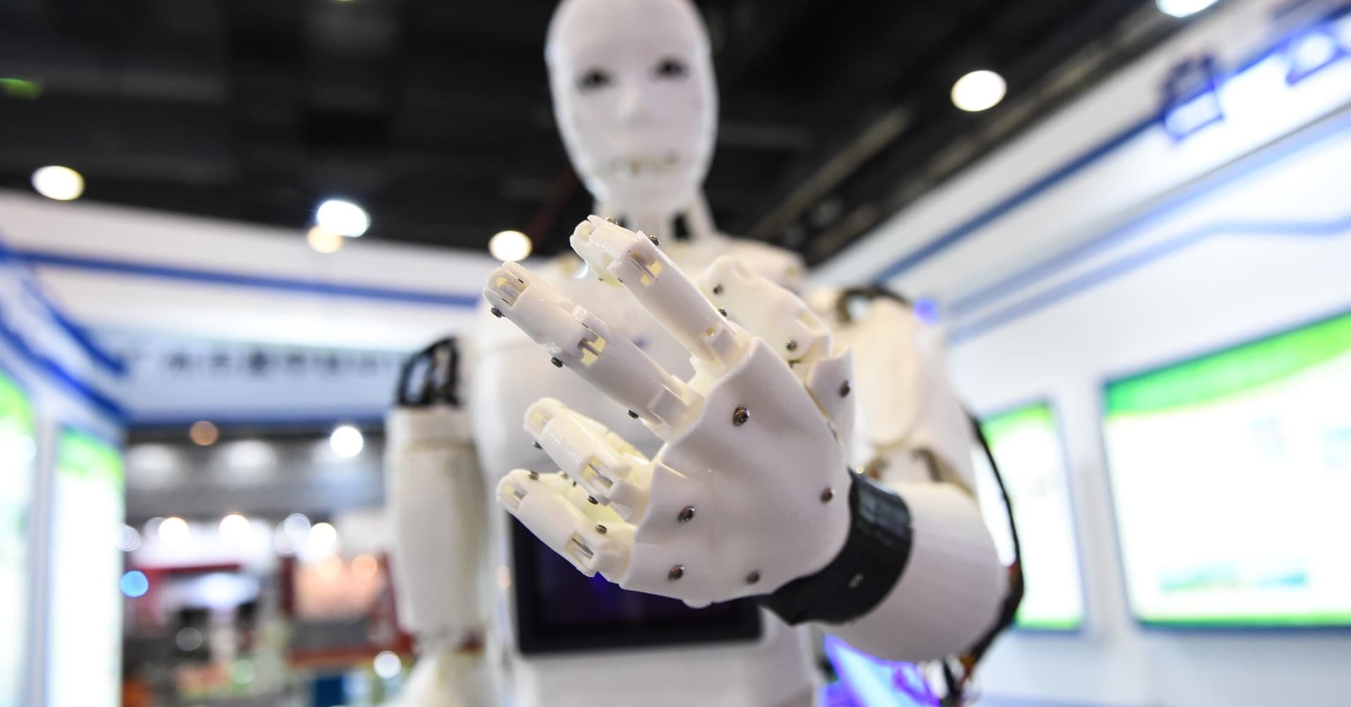 GUANGZHOU, CHINA - NOVEMBER 18 : Guiding robot, made by 3d printer are being displayed during International Robotics Exhibition at Pazhou convention and exhibition center in Guangzhou, China on November 18, 2016.