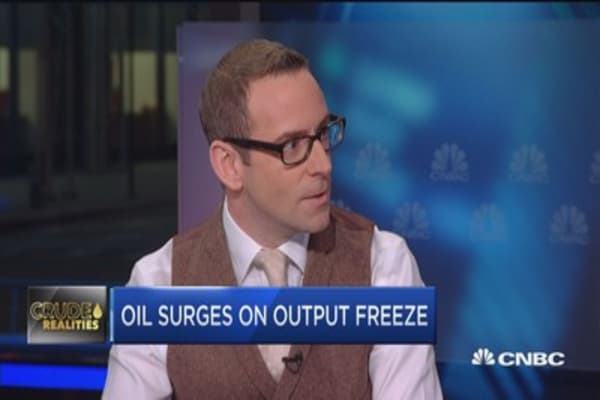 Oil prices surge on output freeze