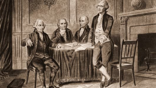 Illustration of four of the United States Foundign Fathers, from left, John Adams (1735 - 1826), Robert Morris (1734 - 1806), Alexander Hamilton (1757 - 1804), and Thomas Jefferson (1743 - 1826), 1774.