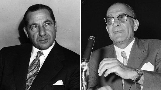 Mobster's Frank Costello and Vito Genovese circa 1958.