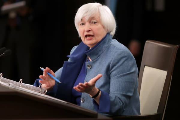 Federal Reserve Board Chair Janet Yellen holds a news conference after the central bank announced an increase in the benchmark interest rate following a Federal Open Market Committee meeting December 14, 2016, in Washington.