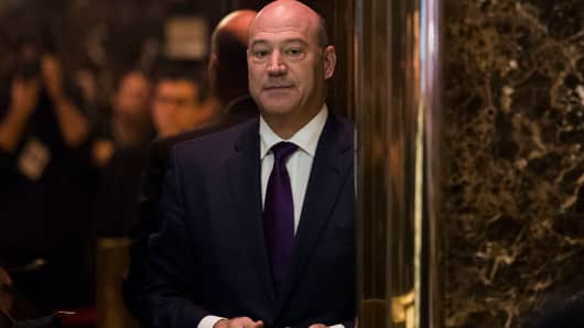 Gary Cohn, president of Goldman Sachs and President-elect Donald Trump's choice for director of National Economic Council, arrives at Trump Tower, December 14, 2016, in New York City.