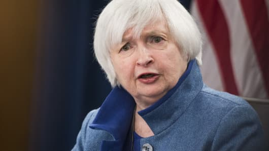 Janet Yellen speaks during a press conference following Fed's interest rate announcement in Washington, on December 14, 2016.