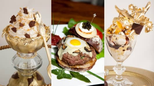 Serendipity 3: 'Frrrozen Haute Chocolate' (left) | 'Le Burger Extravagant' (middle) | 'Golden Opulence Sundae' (right)