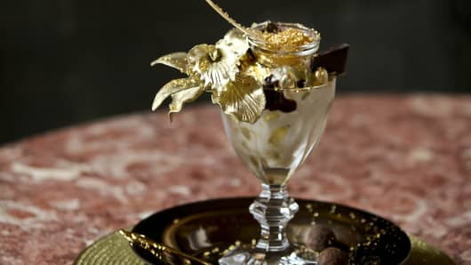 Golden Opulence Sundae ready to be tasted on May 08, 2012 in New York City.