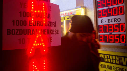 People walk past a sign offering customers a 10TL gift if they exchange more than $1,000 or euro at a currency exchange store on December 5, 2016, in Istanbul.
