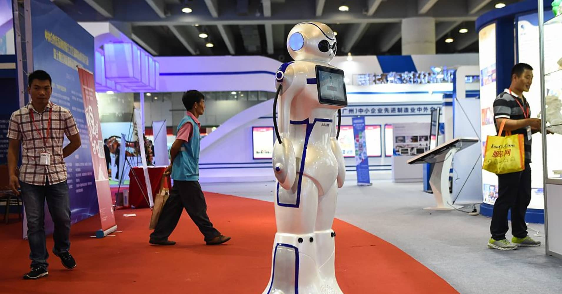 A guiding robot displayed during International Robotics Exhibition in China this year.